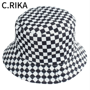 2020 летняя черно-белая клетчатая Панама, Женская Модная хлопковая шляпа от солнца, двусторонняя шапка Bob Chapeau Femme, Панама, шляпа в рыбацком сти...