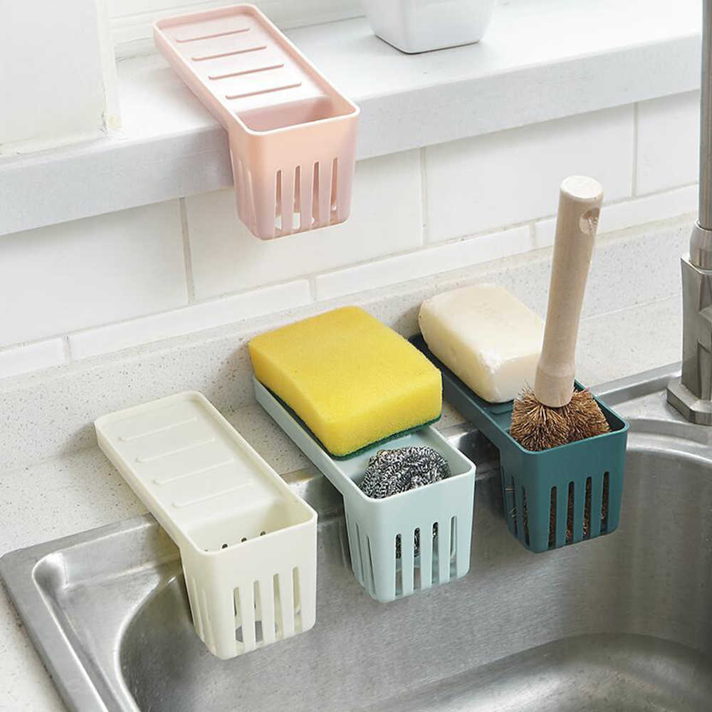 Kitchen Accessories 1 Pc Sink Shelf Suction Cup Sponge Drain Rack Multifunction Storage Racks home organizer