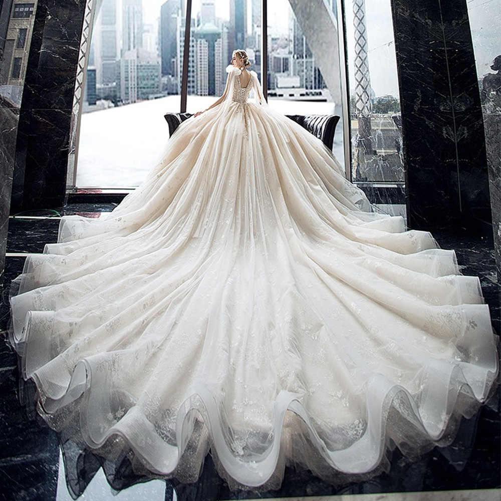 Robe de mariée en dentelle de cristal, robe de mariée magnifique, brillante, avec traîne Chapel, col en v, épaules avec nœud, 2020