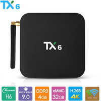 TX6 Android 9.0 TV Box Allwinner H6 Smart TV Box 4GB di RAM 32GB 64GB 2.4G 5.8G Dual Wifi BT4.1 4K Media Player USD3.0 Set Top Box