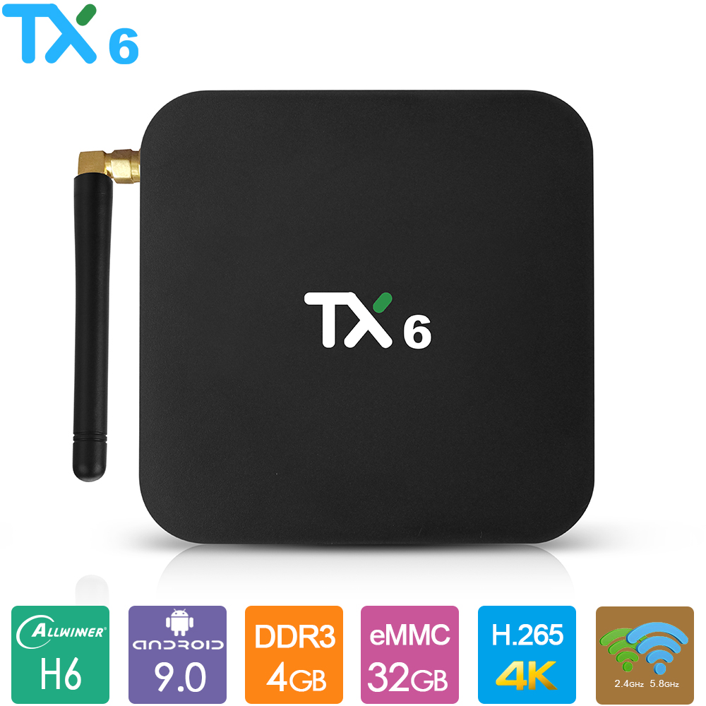 TX6 <font><b>Android</b></font> 9.0 <font><b>TV</b></font> <font><b>Box</b></font> Allwinner H6 Smart <font><b>TV</b></font> <font><b>Box</b></font> 4GB RAM 32GB 64GB 2,4G 5,8G dual Wifi BT4.1 4K Media Player USD3.0 <font><b>Set</b></font> <font><b>Top</b></font> <font><b>Box</b></font> image