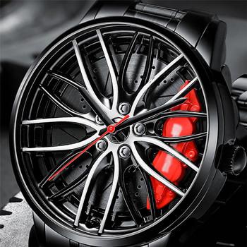 Nowy zegarek sportowy samochód mężczyźni zegarek kwarcowy wodoodporny piasta koła koła samochód mężczyźni zegarki ze stali nierdzewnej tanie i dobre opinie CN (pochodzenie) Metal STAINLESS STEEL