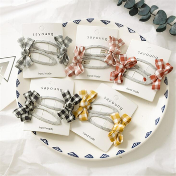 2 pcs/set Cute Koran Style Children Girls Solid Color Bow Plaid Hair Clips Hair Accessories New Lovely Kids Headwear Hairgrips 1 set 2pcs 4 5 girls 2 color linen plaid hairgrips hairbow hair accessories with alligator clip handmade for children hair bow