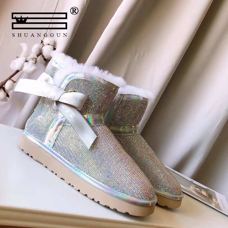 SHUANGGUN Imported 100% Sheepskin women's boots winter snow boots Sequin leather wool leather crystal short boots #021