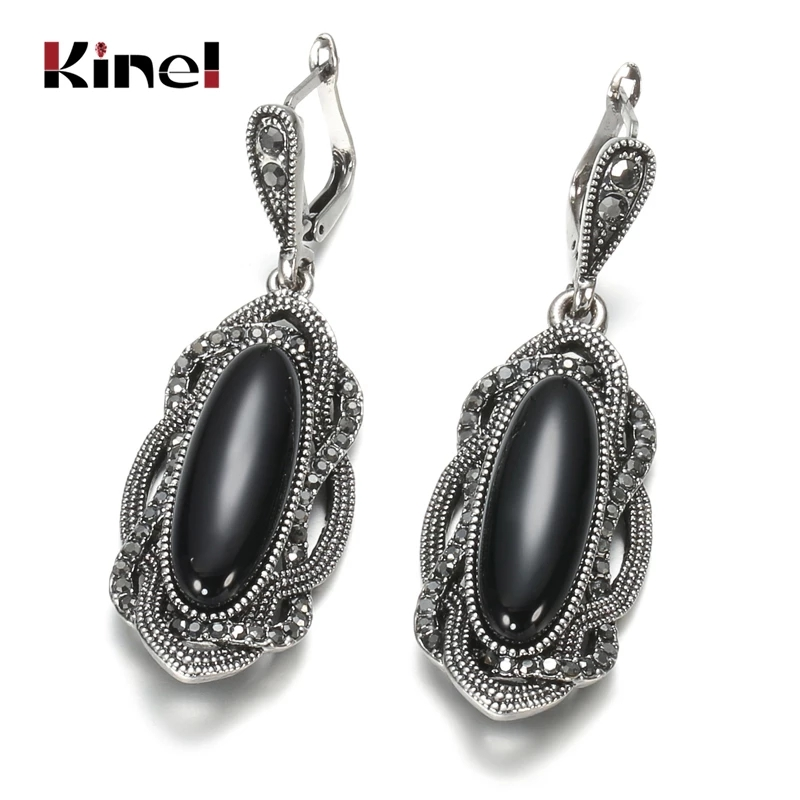 Kinel Top Quality Bohemian Black Stone Earring Tibetan Silver Mosaic AAA Gray Crystal Big Oval Earring For Women Vintage Jewelry