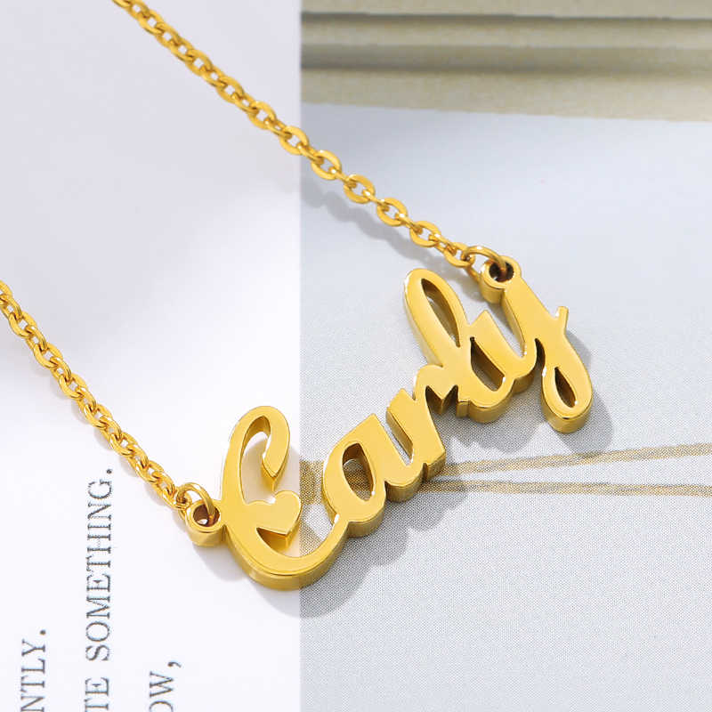 Custom Name Necklace Personalized Stainless Steel Gold Chain Choker Engraved Handmade Necklace Jewelry Gift Ideas For Women Customized Necklaces Aliexpress