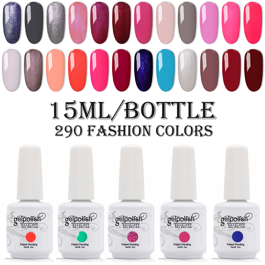 2020 New Arrival Nail Gelpolish UV/LED Nail Gel Polish Soak Off Nail Polish Long Lasting UV Gel Nail Varnish 15ml Big Bottle