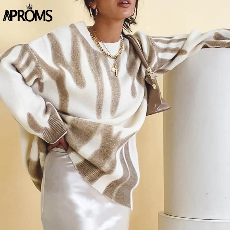 Aproms Korean Fashion Khaki Stripes Print Loose Sweaters Women Winter Hip-Pop Oversized Long Pullovers Streetwear Outerwear 2021