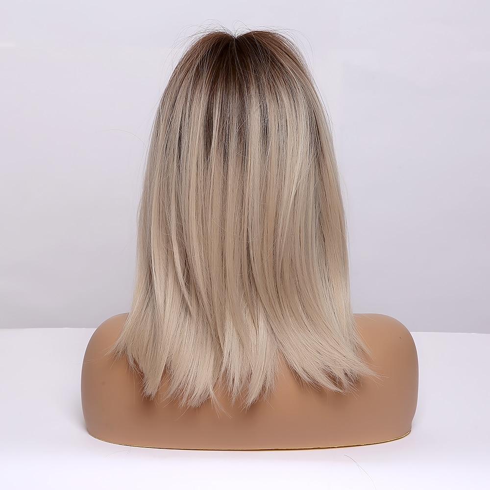 médio perucas sintéticas com franja cabelo natural