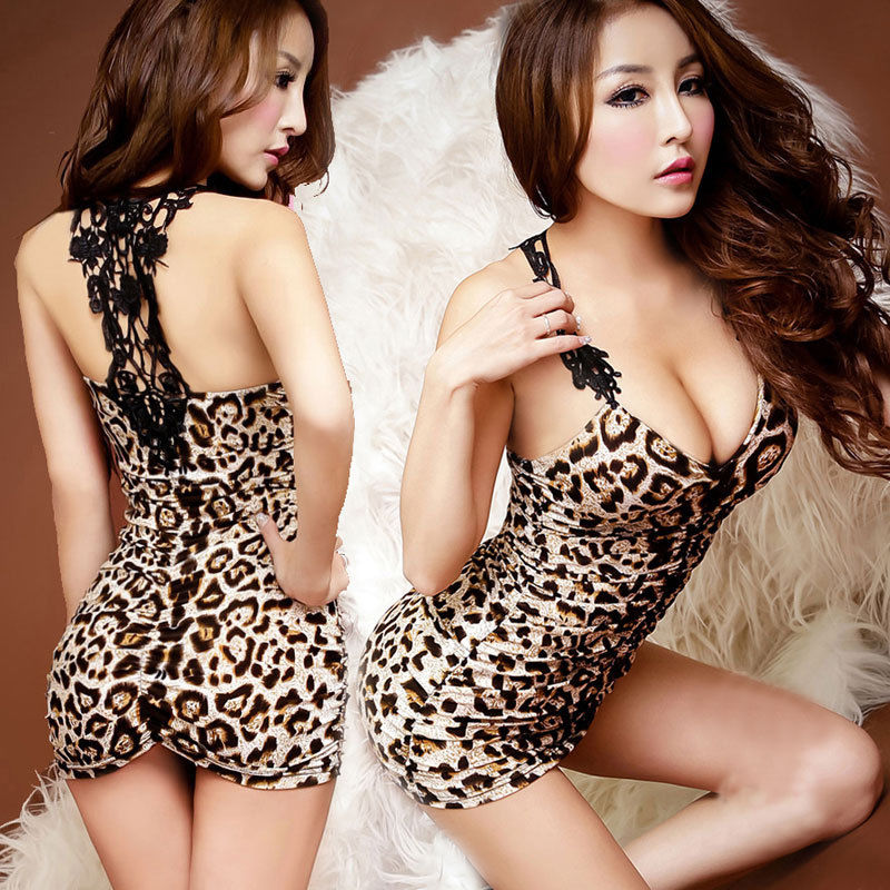Brand New Women Leopard&Solid Lace Sexy Lingerie +G-String Deep V-neck Slim Underwear Lingerie Erotic Babydoll Mini Dress