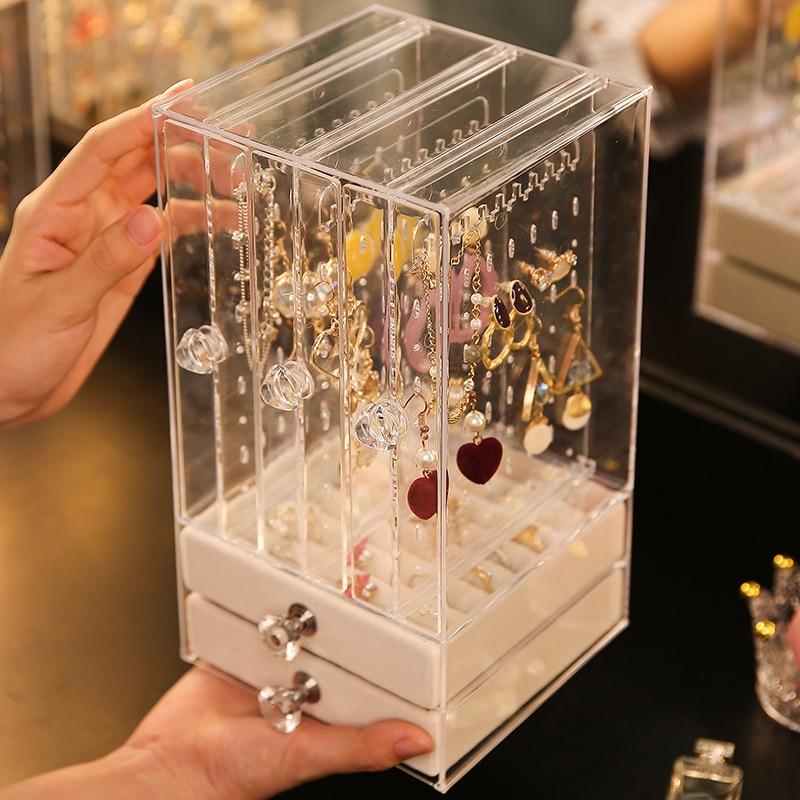 Storage Box Drawers Shelf Support Storage Case Anti-dust Acrylic Earrings Display Stand Jewelry Shelf