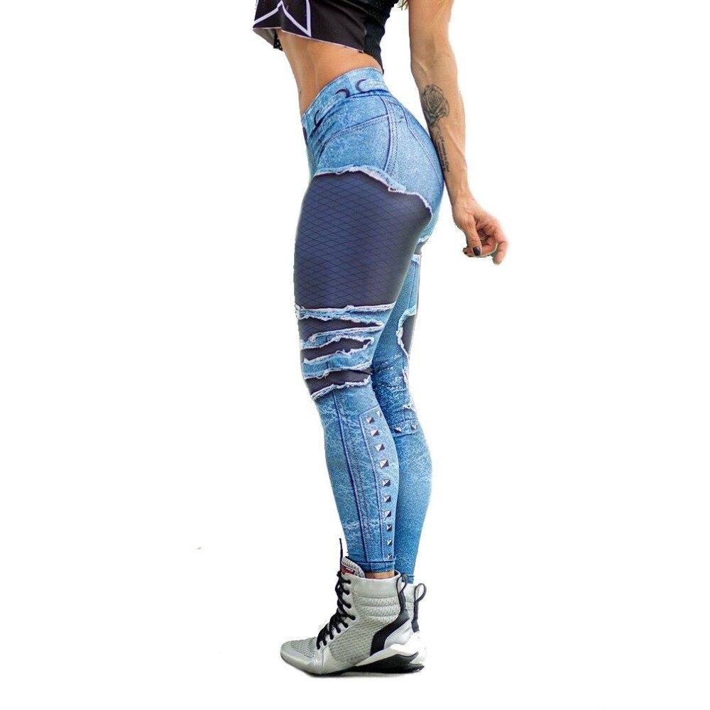Купить женские леггинсы для йоги с высокой талией имитация рваных джинсовых