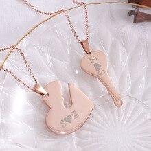 Stainless Steel Choker Key Heart Custom Necklace Laser Personalized Jewelry Pendant Couple Necklace Women Best Friend Gift