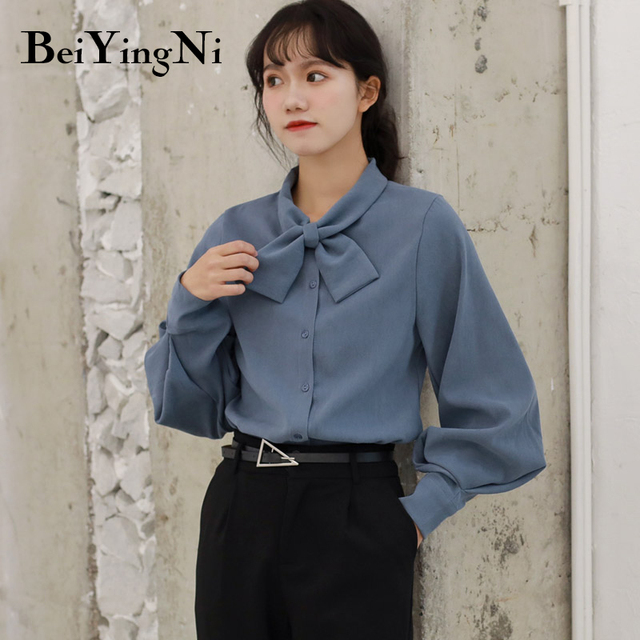 Beiyingni Fashion Casual Bow Tie Blouses Womens Tops Oversized Vintage Solid Color Shirts Female Autumn Winter Long Sleeve Blusa 2