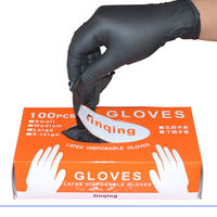 在庫あり!!!100 ピース/セット洗濯使い捨てメカニック手袋黒ニトリル実験室ネイルアート帯電防止手袋