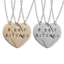 Pendentif en forme de cœur mosaïque avec trois cœurs, 3 pièces/ensemble, bijoux, cadeau pour meilleure amie, petite amie, Europe et amérique