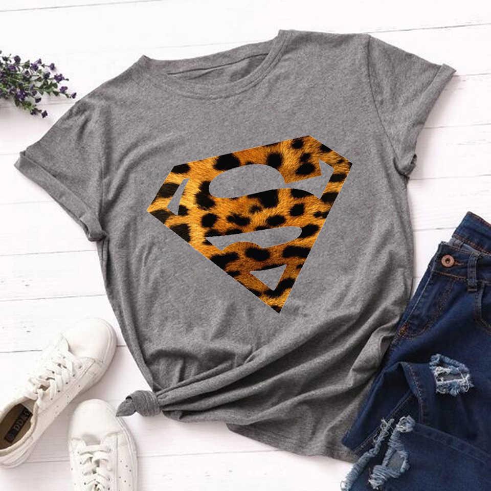 Kadın T Shirt moda leopar Superman baskı kısa kollu yaz moda Ulzzang T Shirt estetik Tshirt Harajuku giyim