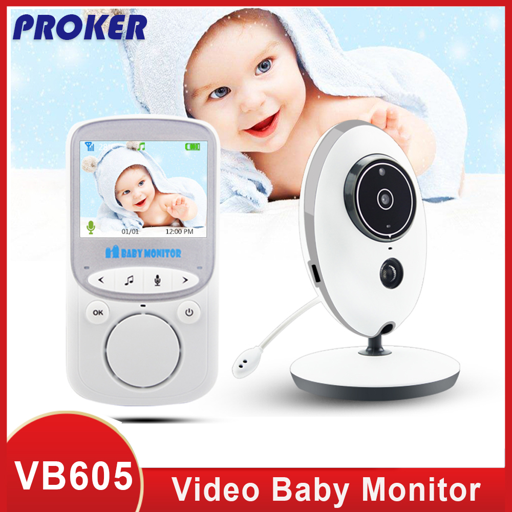 Proker Wireless LCD Audio Video Baby Monitor Radio Nanny Music Intercom IR 24h  Baby Camera Baby Walkie Talkie Babysitter VB605