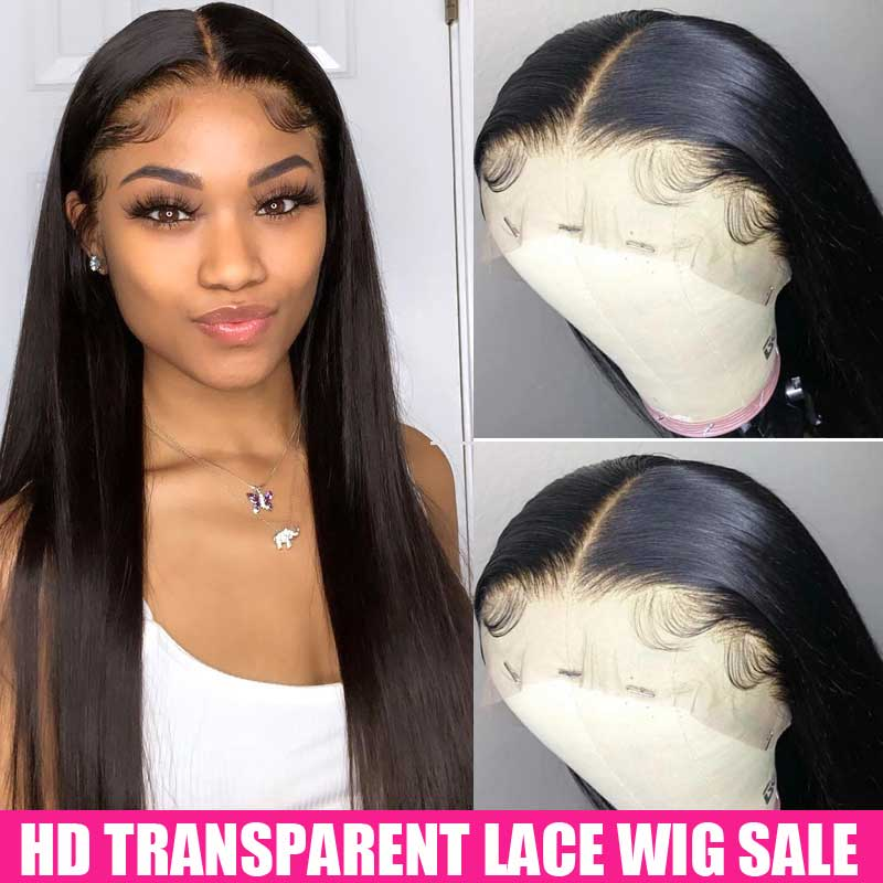 150% HD Transparent Lace Frontal Wigs 4x4 6x6 Closure Wig 13x6 Lace Front Human Hair Wig Remy Brazilian Straight Lace Front Wig