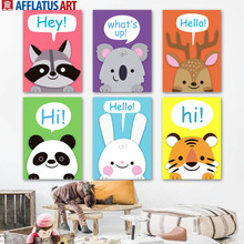 Cartoon Raccoon Deer Rabbit Lion Nordic Posters And Prints Wall Art Canvas Painting Nursery Pictures Baby Kids Room Decor