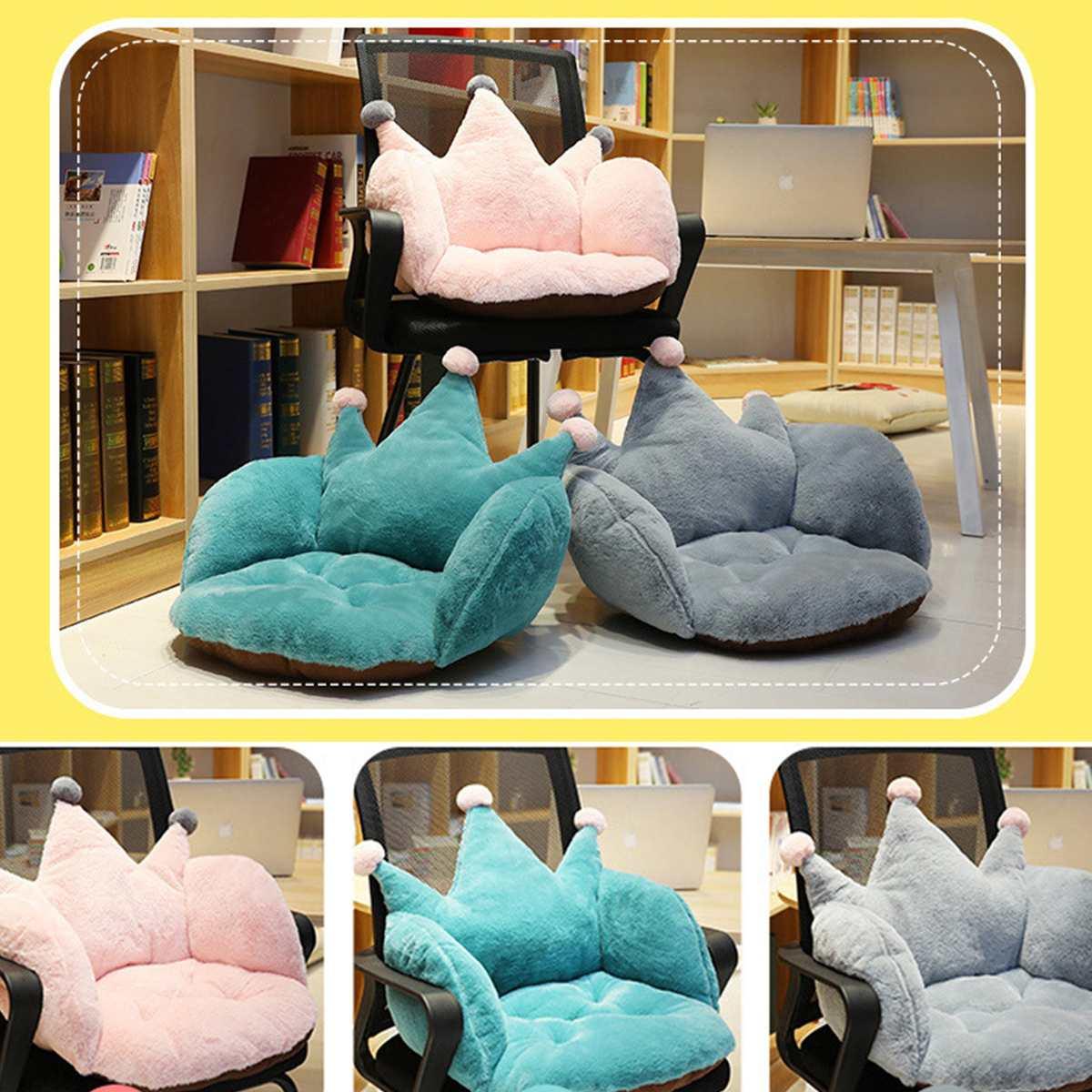 Soft Crown Seat Chair Back Cushion Waist Lumbar Pillow Waist Support Plush Backrest For Sofa Office Home Kids Room Decoration