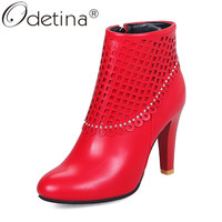Odetina Women Spike High Heel Ankle Boots With Rhinestone Round Toe Comfort Booties Side Zip Up Winter Dress Shoes Plus Size 43