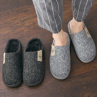 Men Winter Warm Slippers Fur Slippers Men Boys Plush Slipper Cotton Shoes Non-slip Solid Color Home Indoor Casual Slippers 1