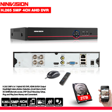 NINIVISION 4CH AHD DVR Recorder Full 5MP Surveillance Video Recorder H.265 4 Channel Digital Video Recorder For AHD IP Camera
