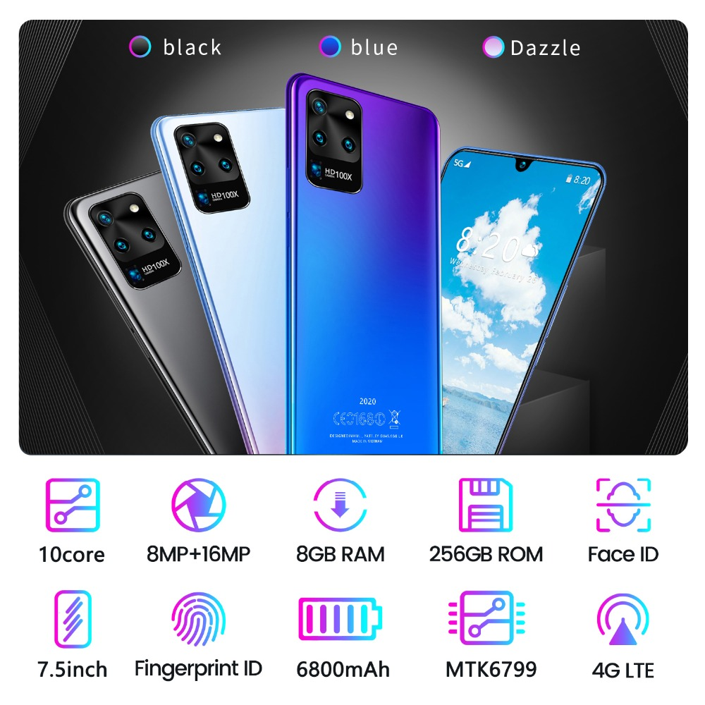 New 7.5inch Galax S20U Network Snapdragon855 Smartphone 4 Cameras 12GB RAM 512GB ROM Deca Core Global Version S20U Phone case