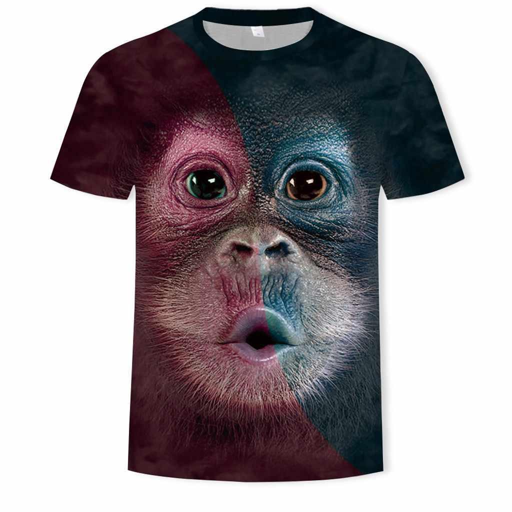 Erkekler 3D hayvan baskı Orangutan maymun T Shirt kısa kollu o-boyun yaz üstleri siyah artı boyutu yenilik rahat gömlek 6XL # D