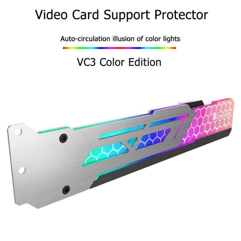 Jonsbo V3 3 Pin DC12V RGB Graphics Card Support Frame Colorful  Automatic LED Change Universal Video Card Holder Bracket Newst