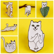 DIY Enamel Pin Funny Cat Pattern Metal Badges Pins and Brooches for Women Men Lapel pin Creative Gift backpack bag badge jacket недорого