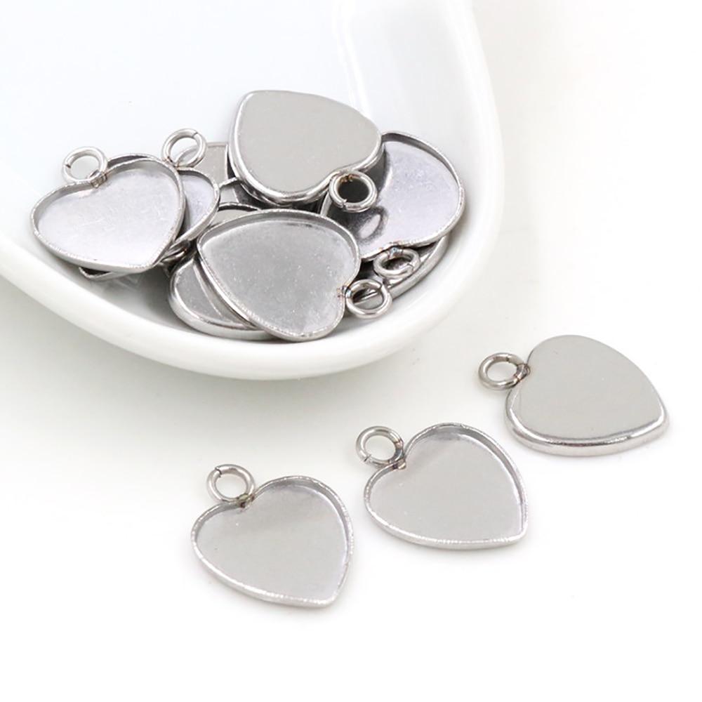 20 шт 12 мм Сердце внутренний размер Нержавеющая сталь Материал простой стиль кабошон базовая Камея Установка Подвески поднос (T7-41)