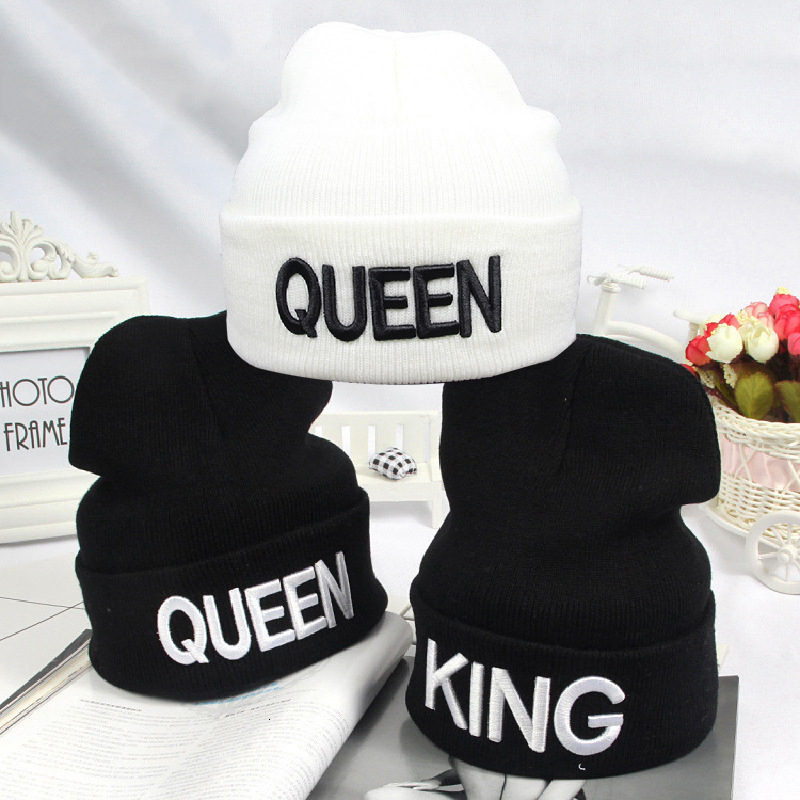 Beanies KING QUEEN Letter Embroidery Warm Hat Knitted Cap Hip Hop Men Women Lovers Street Dance Bonnet Skullies Black White