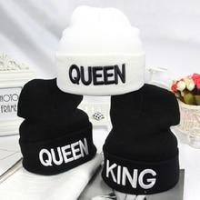 Warm Hat Beanies Knitted-Cap Dance-Bonnet Letter Embroidery Skullies King-Queen Black