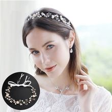 Handmade Boho Bridal Bridesmaid Headband Faux Pearl Crystal Flower Alloy Vine Headwear Retro Rustic Jewelry Wedding Hairband