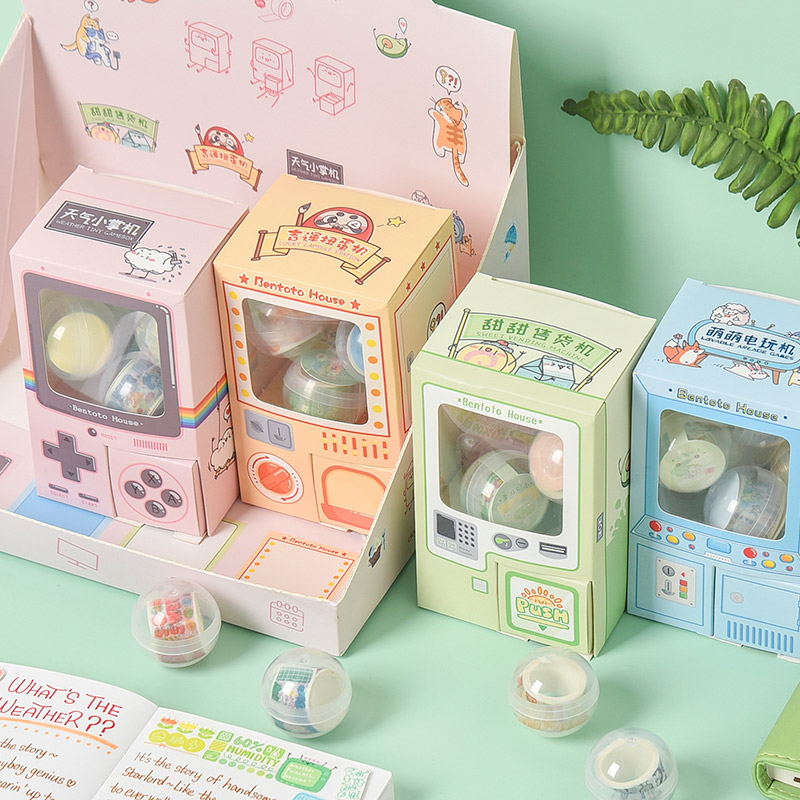 20pcs/4boxes Rocking Box Gashapon Paper Decorative Tape Masking Tape Washi Tape
