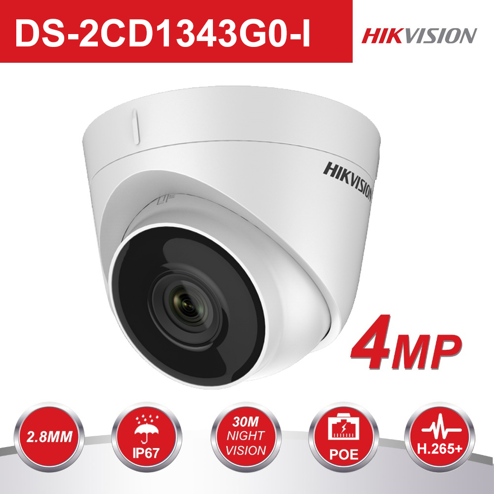 Hikvision 4MP POE IP Camera Outdoor DS 2CD1343G0 I HD Turret Secuiry PoE IP Camera Infrared Night Vision Video Surveillance|4mp turret|poe ip camera|ip camera - title=