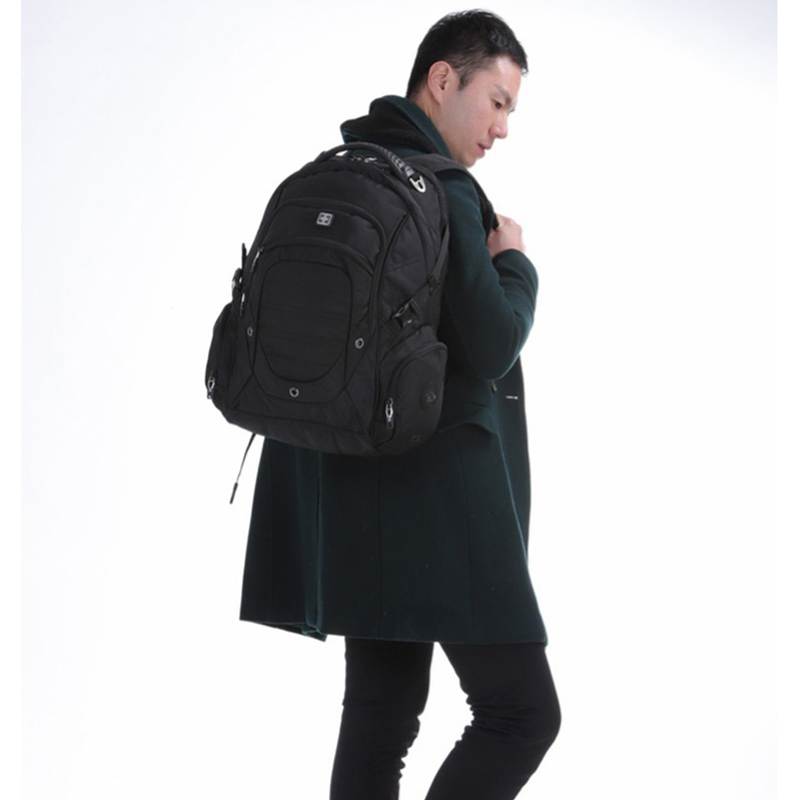 2019 swiss Laptop bag brand Waterproof large capacity nylon balck backpack for Laptop bagpack travel for women and men sac a dos-in Backpacks from Luggage & Bags    1