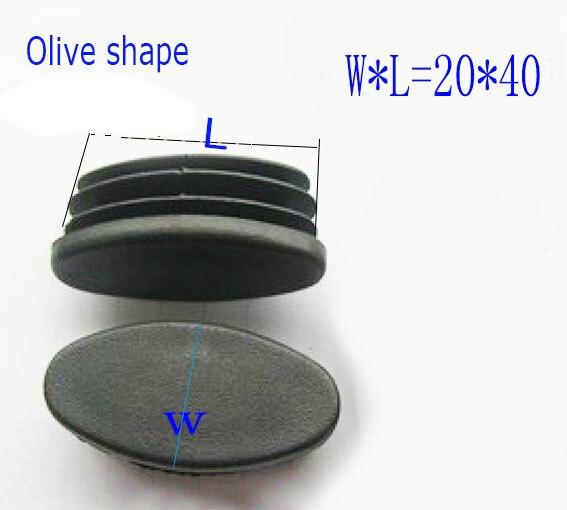 20X40 Olive Hình Ống Lắp Đầu, Ống Ống Cắm đồ Nội Thất Ghế Giường Chân Đèn Led Kết Thúc Bộ Đội Miếng Lót, Hình Bầu Dục Đống Cực Chống Bụi Có.