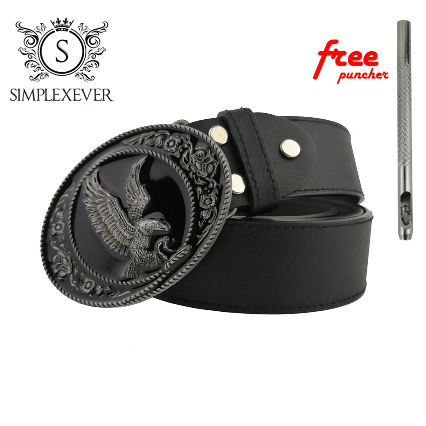 Eagle Metal Belt Buckle For Men 88*65mm Oval Silver Belt Buckle Head With Leather Belt And Free Puncher