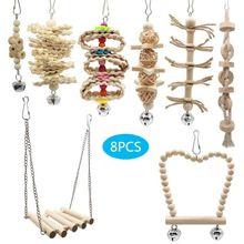 8 Pcs/set Bird Parrot Swing Chew Toys Natural Wood Hanging Bell Birds Cage Decor 50JD