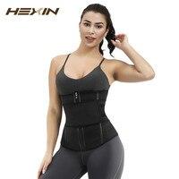 HEXIN Women Waist Trainer Belt Weight Loss Body Tummy Adjustable Velcro Corset Trimmer Belt Body Shaper Zipper belt elastic