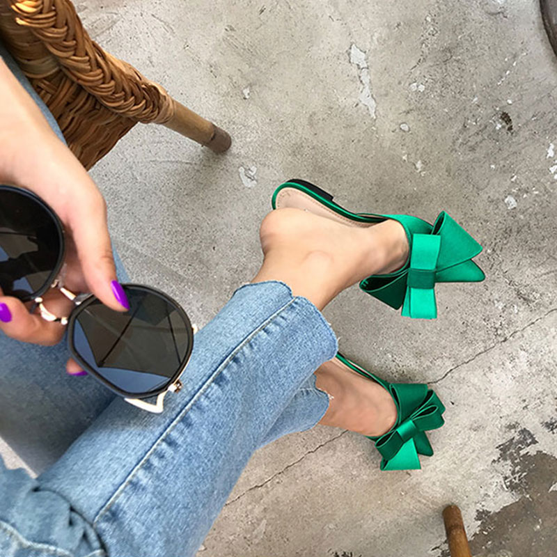 Blingbling Party Low Heel Sandals Pointy Bow Style Women's Shoes Comfortable Flat Shoes Lady Green