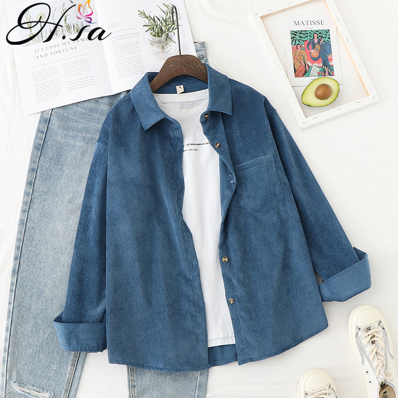 H.SA Retro Vinatge Women Casual Blouses and Tops Corduroy Shirts 2020 Spring Jackt Open Stitch blusas feminina Women Loose Shirt(China)