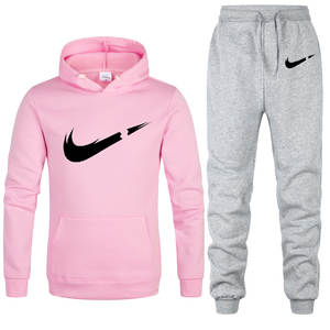 Tracksuit Fashion Hoodies Pants Sportswear Two-Piece-Sets Fleece Women Brand Thick New