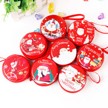 Creative Special Design Christmas Coin Purse Zipper Tinplate Mini Red Round headset key Bag Kids Gifts