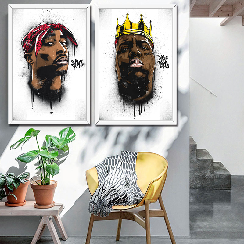 The infamous B.I.G Biggie Smalls Tupac 2PAC Shakur Hip Hop <font><b>Gangsta</b></font> Rap Music Art Painting Poster Wall Home Decor hight quality home Decor for Children's room No Frame o415 image