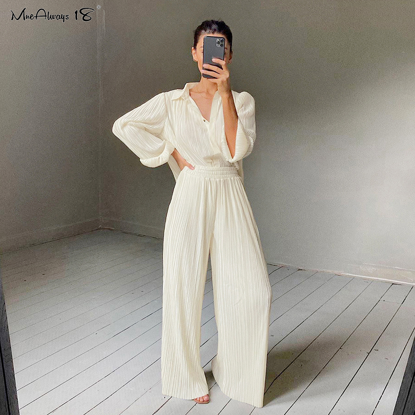 Mnealways18 Beige Pleated Wide Leg Pants Women'S Pants Fashion 2020 Casual Loose Summer Trousers Office Lady Elegant Long Pants