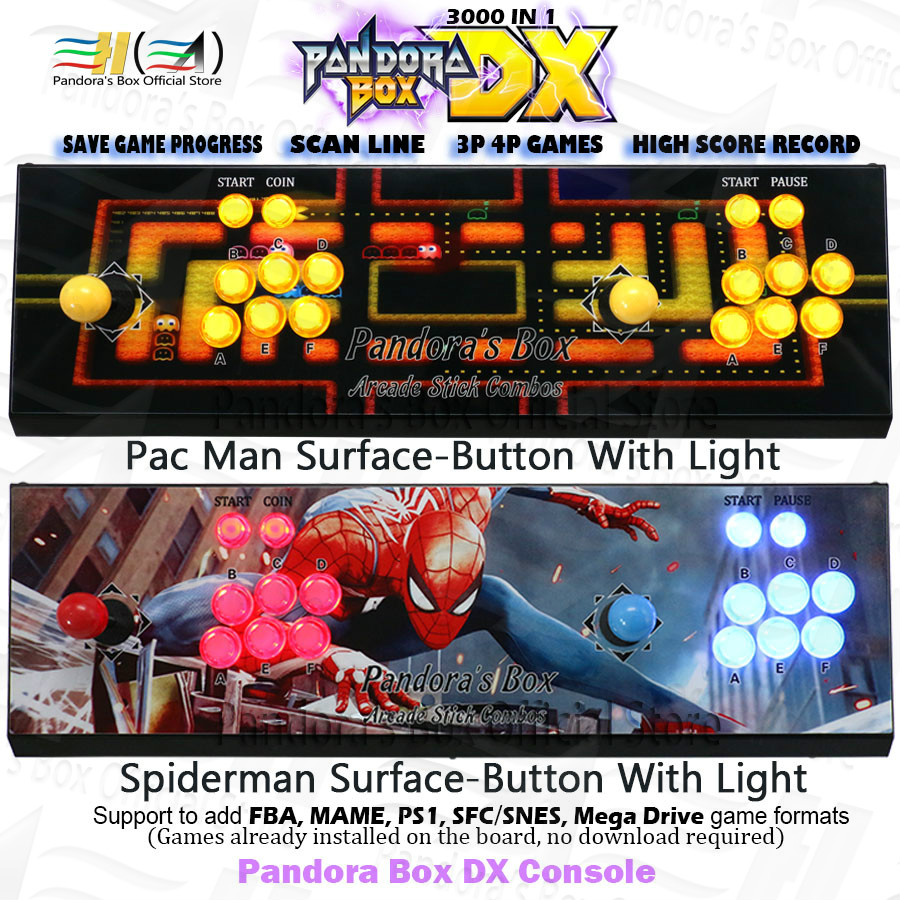 Original Pandora Box DX Iron Console 3000 In 1 Save Game Progress High Score Record Can 3P 4P Game 3D Tekken Killer Instinct